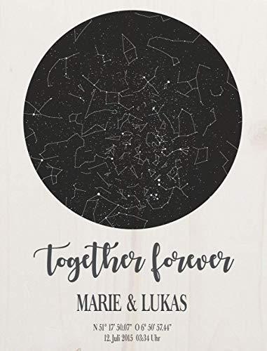Dein Sternenhimmel - personalisiert hochwertig gedruckt auf Holz das perfekte Geschenk zur Hochzeit zum Jahrestag zur Taufe oder Geburt