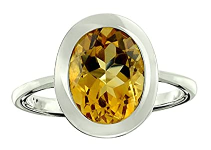 RB Gems Sterling Silver 925 Ring Genuine Gemstone Oval 10x8 mm with Rhodium-Plated Finish, Bezel-Setting (8, Citrine)