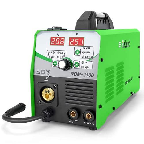 Reboot Soldador MIG 210A 230V IGBT 230V 1 kg 5kg Gas y sin gas MIG ARC Lift TIG 4 en 1 Núcleo de flujo alambre sólido Máquina de soldadura de inversor MIG MMA MIG MAG