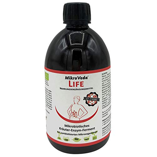 MikroVeda Life Enzymfermentgetränk, 33 Bakterienstämme, 22 fermentierte Kräuter & Pflanzen, super-aktiviert, hoch zellverfügbar, bioverfügbar, vegan, roh, Deutscher zertifizierter Hersteller