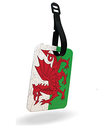 The Flag of Wales Welsh - The red Dragon Luggage Tag and Strap with Rear Part Printed