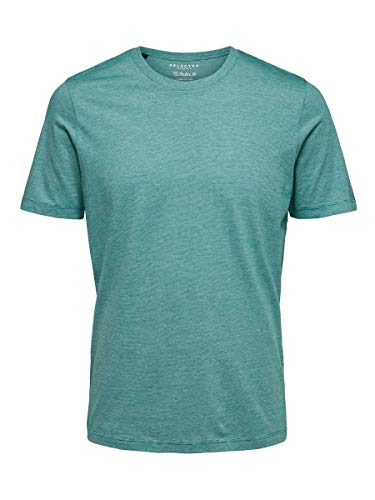 SELECTED HOMME 16057143 T-Shirt, Verde (Shady Gladestripes: Bright White), X-Large Uomo