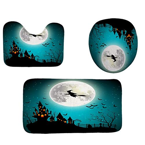 Yue668 Halloween 3 stücke Geprägte Bad Badematte Set Wc Teppich Set Flanell Rutschfeste Teppich Set Toilettendeckel Abdeckung Duschbad Küchenteppich Fußmatten (I)
