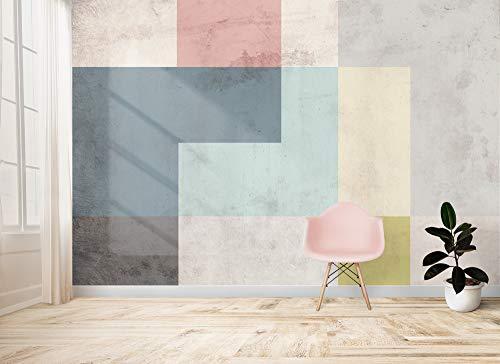 Carta da parati geometrica moderna, vari colori, pastello, grigio, design vintage, arredamento casa, camera da letto, salone, forme geometriche astratte (350 x 233 cm, Pastello)