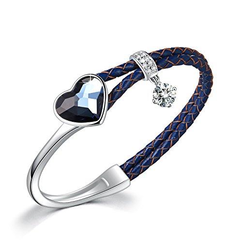 SUE'S SECRET Cinderella Collar Pulsera para Mujer con Cristales Swarovski Oval Azul, Regalos Navidad Viene con Caja de Regalo, sin níquel