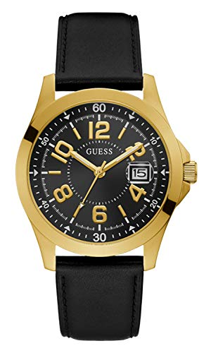 GUESS Men's Stainless Steel Quartz Watch with Leather Strap, Black, 22 (Model: GW0251G1)