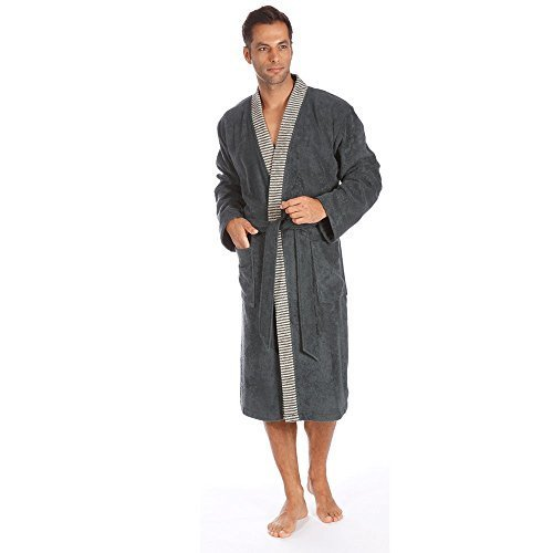 Egeria Bademantel Saunamantel Kimono 100% Baumwolle, 360 g/m² Bruno Herren Slate Grey S
