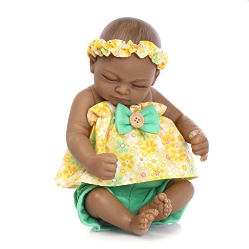 TERABITHIA Mini 10inches Black Sweet Sleeping Alive Reborn Baby Dolls Silicone Vinyl Full Body African American Girl