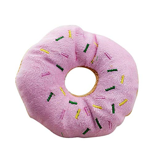 Fliyeong Pet Puppy Cat Quietschendes Plüschspielzeug Hundespielzeug Donuts Pink