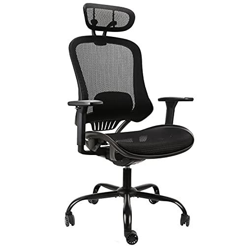 Komene オフィスチェア 人間工学 メッシュオフィスチェア ハイバック デスクチェア 腰痛椅子 135度リクライニングチェア 多機能チェアー 通気性 調節可能なヘッドレスト 腰サポート付き 事務用 勉強用 テレワーク用に最適 (ブラック)