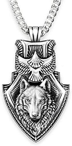 YFGlgy Collar De Escudo De Lobo De Águila para Hombres, Niños, Norse Viking Wolf Head Colgante Colgante con 25.6'Cadena, Vintage Celtic Wolf Totem Amulet Necklace