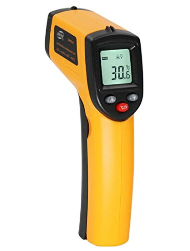 Wofupowga Infrared Thermometer,Advanced Non-contact -58℉~ 716℉ (-50℃ ~ 380℃) Digital Temperature Gun with Battery Monitoring Adjustable Emissivity for Cooking & Brewing,Yellow and Black Yellow