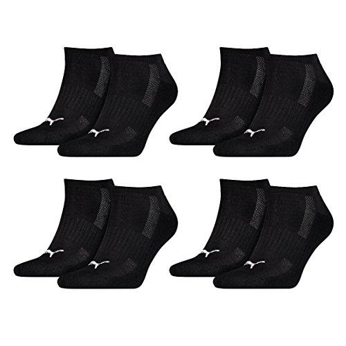 PUMA 8 Paar Sneaker Socken mit Frottee-Sohle Gr. 35-46 Unisex Cushioned Kurzsocken, Farbe:200 - black, Socken & Strümpfe:43-46