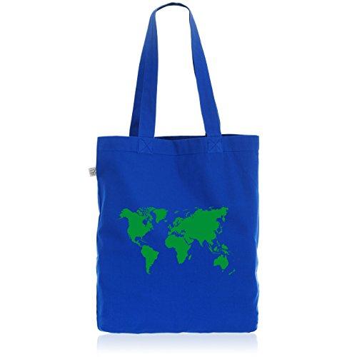 style3 Weltkarte Biobaumwolle Beutel Jutebeutel Tasche Tote Bag World Map, Farbe:Blau