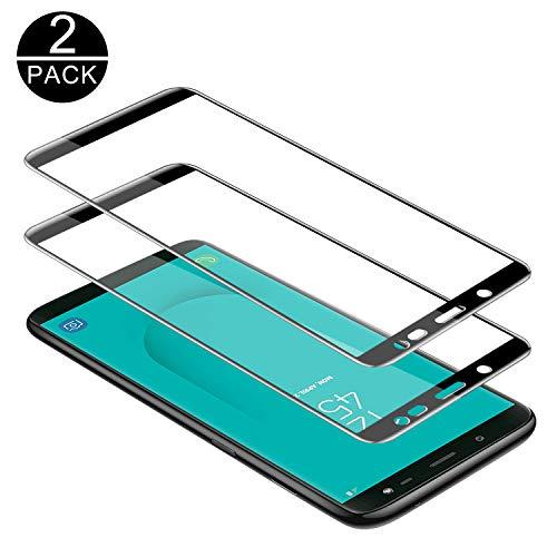 TECHKUN Panzerglas Schutzfolie für Samsung Galaxy J6 2018 (5,6 Zoll),[2 Stück] 9H Härte, Anti-Kratzen, Anti-Öl, Anti-Bläschen (Schwarz)