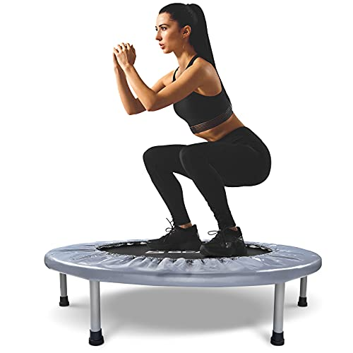 BCAN 38' Foldable Mini Trampoline, Fitness Trampoline with Safety Pad, Stable & Quiet Exercise...