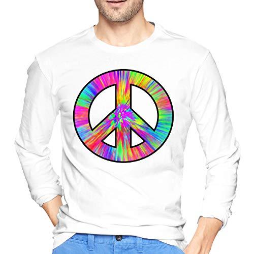 U are Friends Tee Dye T-Shirt de Sport à Manches Longues pour garçons,Signe de la Paix,Signe pour Hommes(L,Blanc)
