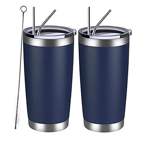 VETIN 2 Stücke Trinkbecher mit Strohhalm, 20 Oz/568 ml Thermobecher für Auto, Edelstahl to Go Becher Auslaufsicher, mit 4 Strohhalm, 2 Rohrbürste, Blau