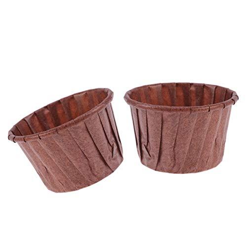 Hemoton 100Pcs Tazas para Hornear Navideñas Foil Cupcake Liner Muffin Cup Cupcake Wrapper Titulares Suministros para Hornear para Navidad Boda Cumpleaños (Café)