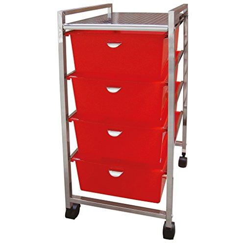 Laroom Carrito Ancho 4 cajones, Chrome Acero Inoxidable Structure y PP Drawers, Rojo
