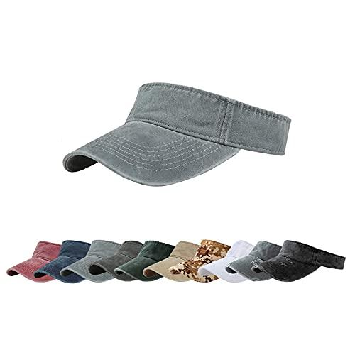 ANDICEQY Sun Visor Hats Adjustable Empty Top Baseball Cap Cotton Visors Sports for Men and Women (Gray)