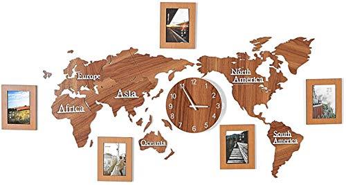 Dmygo Madera Color Gran tamaño Mapa Mundo Relojes