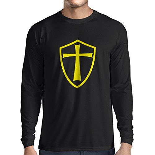 Camiseta de Manga Larga para Hombre Caballeros Templarios - Escudo de los Templarios (XX-Large Negro Amarillo)