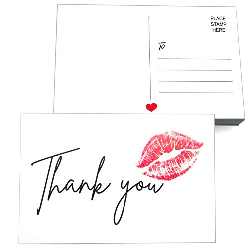 RXBC2011 50 Thank You Cards with red lips for mailing Kiss postcards sweet greetings card for Birthdays Graduation Wedding 4x6 Inches