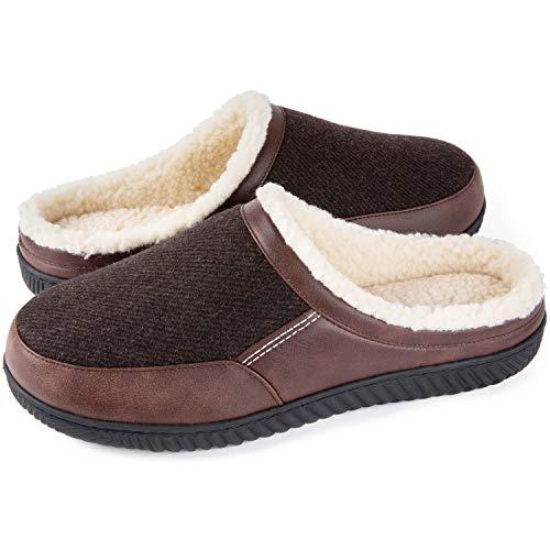 ULTRAIDEAS Men's Cozy Memory Foam Slippers with Warm Fleece Lining, Indoor House Slippers Anti-skid Rubber Sole(Goffee,13-14)