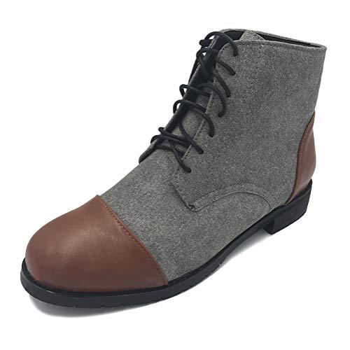 Minetom Herren Derby Schnürhalbschuhe Mode Farbblock Wildleder PU Sneaker Klassische Kurzschaft Stiefel Mokassins Anzugschuhe Business Schuhe Grau EU 41