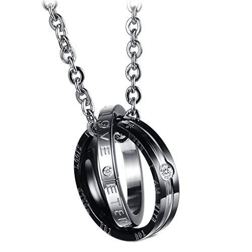 Gankmachine Anillo de la Cadena Collar de los Colgantes de Las Mujeres de los Hombres de Titanio Diamantes de imitación geométrica Tachonado Cuello Redondo Amantes de la decoración