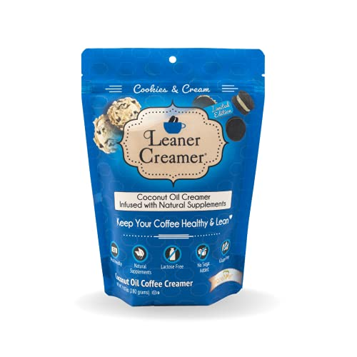 Leaner Creamer Non-Dairy Sugar Free Coffee Creamer Powder. Perfect Coconut Oil Non-Dairy Powder To Naturally Cream and Sweeten Coffee, Smoothies, Protein Shakes & More! Ideal Flavoring For All Diets (COOKIES & CREAM, 9.87 oz (Pack of 1))