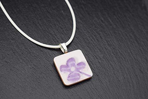 Keramik-Designer-Schmuck für Damen Kette in weiß lila Blume Handmade Modeschmuck Kette mit Anhänger Fliese