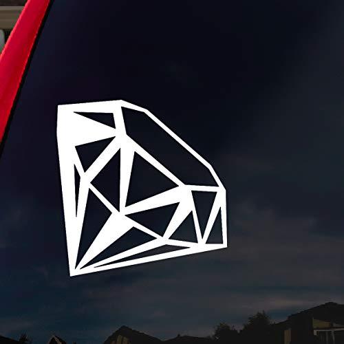 SoCoolDesign Diamond Car Window Vinyl Decal Sticker 4' Wide (White)