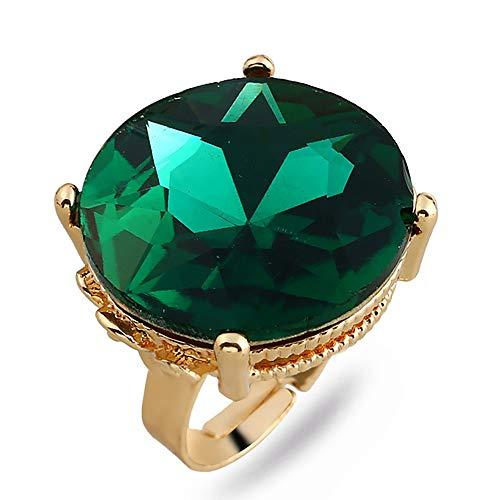 24 JOYAS Anillo Grandísimo de Cristal de Colores Redondo, Montura Dorada y Redimensionable para tu Dedo – Preciosa Joya Romántica para Mujer cumpleaños, Enamorados, Aniversario (Verde)