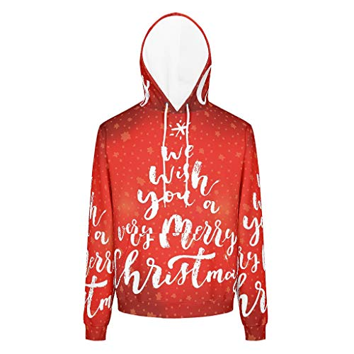 O2ECH-8 man jas met capuchon student wensen je kerstmis patroon grappig - glanzend rood pullover losse comfort sportblouse