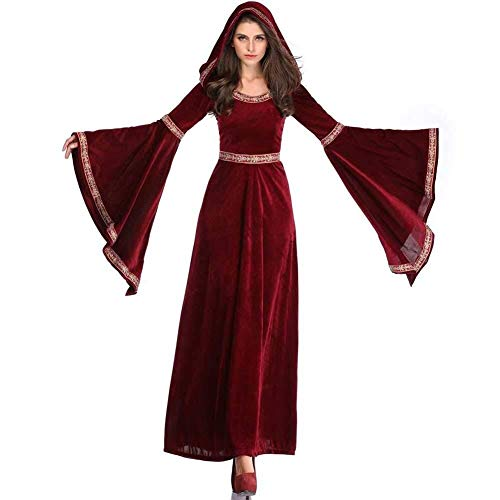 Halloween Damen Kostüm, Vampir Hexe Dämon, Abendkleid/Party/Bar Cosplay Outfit, Retro, Plus Size (Farbe : Red, Size : S)
