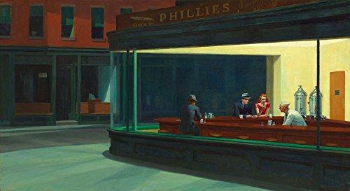 Nighthawks by Edward Hopper Mid Century Art Mid Century Gemälde Hopper Gemälde Nachthawks Gemälde Café Wandkunst Modern Ölgemälde, 11.7 x 16.5 (A3)