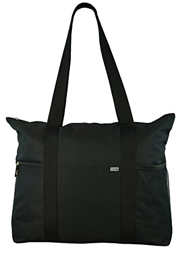 Shoulder Tote with Multiple Pockets and Zipper Closure, Black