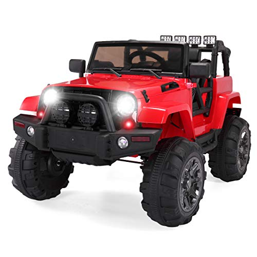BWM.Co Kids Ride On Large Truck Battery Powered Electric Vehicle w/ Remote Control, Foot Pedal Modes, Music, Horn, MP3 & Headlights - Red
