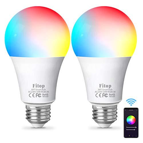 Alexa Lampen Fitop Smart Lampe E27, WLAN Glühbirnen LED Kompatibel mit Alexa/Google Home, 10W 1000LM, Dimmbar Warmweiß-Kaltweiß und Mehrfarbige Birne, Kontrolle durch APP, kein Hub benötigt, 2 Stück
