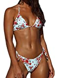 CheChury Moda Mujer Conjunto de Triángulo Bikini Cintura Baja Tiras Ajustable de Bikini Traje de Baño Impresión Tops y Tanga 2 Piezas Brasileños Bañador