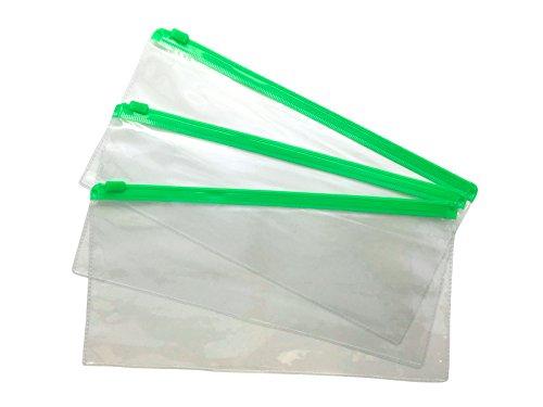 12Stück DL grün Zip Zippy Taschen–Dokument Klar Kunststoff transparent Aufbewahrungsmappe von janrax