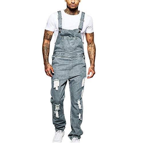 Pantalon à Poches Salopette Bretelles Homme Jeans Dechiré Short De Travail en Denim Skinny Courte Regular Slim Biker Hip Hop Rue La Mode Ete Outdoor Casual Cargo LâChe Court(Bleu 1,L)