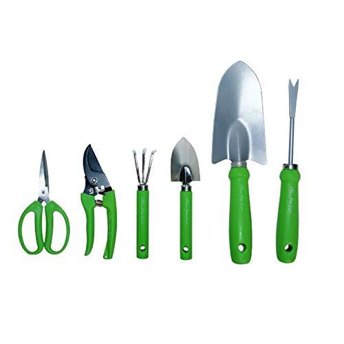 Monsterzeug 6-teiliges Gartenset, Gartentasche für Frauen, Gartengeräte in Baumwolltasche, Garten Werkzeug, Zubehör, Gartenschere, Baumschere, Harke, Pflanzenkelle, Unkrautstab, Tragetasche Pink, Grün
