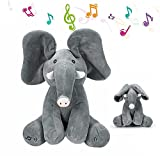 Plush Stuffed Animated Peek-A-Boo Elephant Interactive Musical Preschool Toys with Flappy Ears Singing and Plays Games for Girls Boys Gift