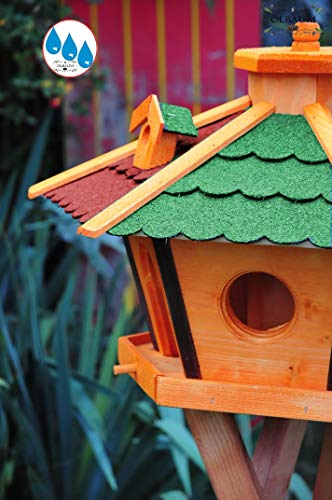 Vogelhaus Massivholz,wetterfest, mit Ständer / mit Standfuß und Silo,Futtersilo für Winterfütterung -Holz Nistkästen & Vogelhäuser- aus Holz mit Dach ROT GRÜN BR60r-gEM - 3