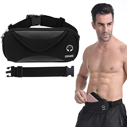 USHAKE Running Belt with Extender Belt, Bounce Free Pouch Bag, Fanny Pack Workout Belt Sports Waist Pack for Apple iPhone XR XS 8 X 7+ Samsung Note Galaxy in Running Walking Cycling-05BK