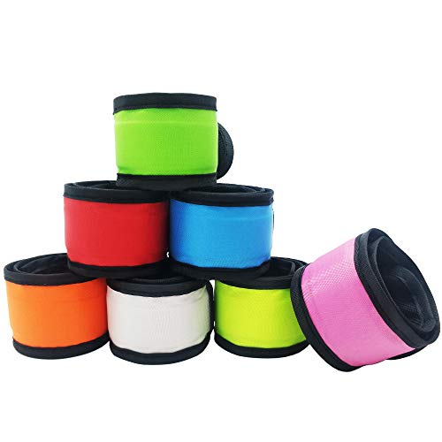 Aoparada LED Light Up Armband Reflective Gear Lights Slap Bracelets for Women Men Kids Night Running Dog Walking Safety (7 Pack - Colorful)