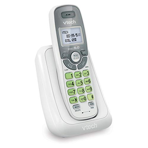 VTech CS6114 DECT 6.0 Cordless Phone with Caller ID/Call Waiting, White/Grey with 1 Handset,...